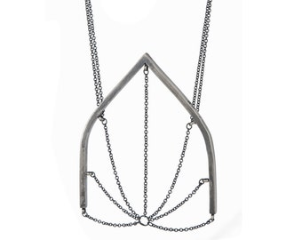 "Cathedral…sterling silver ""web"" necklace"