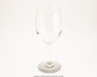 Custom Sterling Silver Glitter Wine Glass Glassware w/Rhinestone Accenting