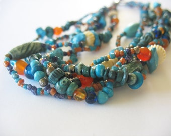Beaded Strands Necklace Glass Turquoise Carnelian Dyed Bone 1980's