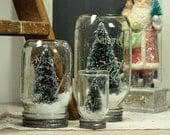 Mason Jar Dry Snow Globe Bottlebrush Tree Upcycled Christmas Decor Table Centerpiece
