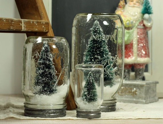 Mason Jar Dry Snow Globe Bottlebrush Tree Upcycled Christmas Decor Table Centerpiece