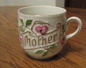 Vintage Mother Coffee Cup Mug Germany Cherrries, Leaves With Gold Accents
