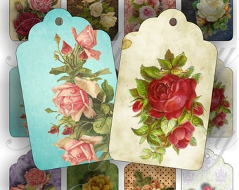 Vintage Roses Tags for Thank you note, gift note and more digital collage sheets No.1445