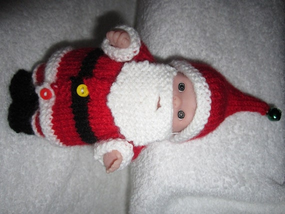 Knit Santa Claus Outfit For 5 Inch Itty Bitty Berenguer Baby