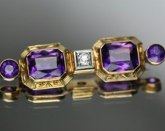 Vintage 14k Yellow Gold Amethyst and Diamond Bar Pin