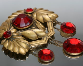 Vintage Gold Tone and Red Glass Stone Large Brooch