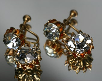 Vintage Gold Tone and Rhinestone Earrings - Screw Back