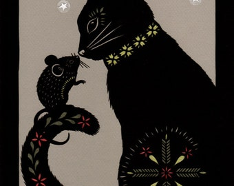 Cat & Mouse In Partnership - 8 X 10 inch Cut Paper Art Print