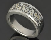 Black and White Dinosaur Bone Ring In Stainless Steel
