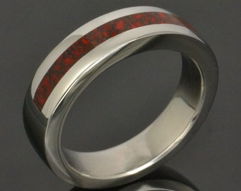 Red dinosaur bone ring in stainless steel by Hileman Silver Jewelry