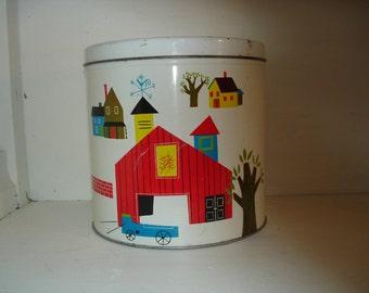 Vintage farm tin canister      farm barn scene/ weathervane