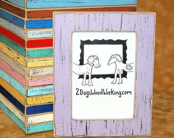 """Colored frame 3x3, 4x4, 4x6, 5x5 or 5x7 Picture Frame, shabby frame, nursery frame, """"Colored Barn wood"""" Violet or choose color 1.5"""" wide"""