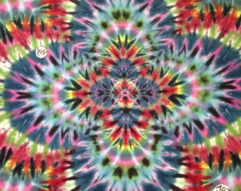"""Hand-Dyed Tapestry """"Fractal"""" with turquoise pink, (5'6""""W x 3'8""""H) Rayon, Original Tie-Dye"""