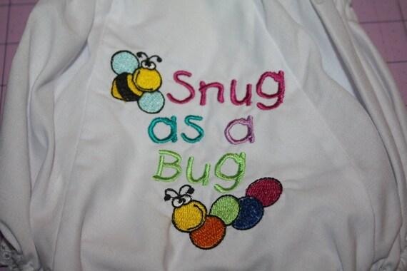 Snug as a Bug Machine Embroidered Diaper Cover