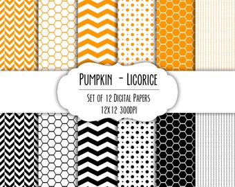 Pumpkin Orange & Licorice Black Digital Scrapbook Paper 12x12 - Set of 12 - Chevron, Hexagon - Instant Download - Item# 8184