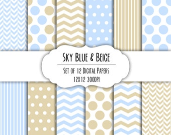 Sky Blue & Beige Digital Scrapbook Paper 12x12 Pack - Set of 12 - Polka Dots, Chevron - Instant Download - Item# 8118