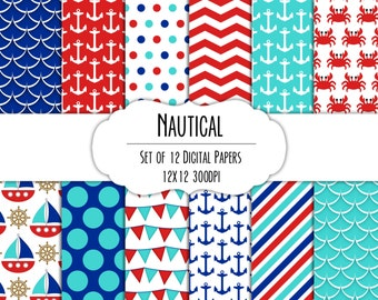 Nautical Digital Scrapbook Paper 12x12 Pack - Set of 12 - Anchor, Sailboat, Crab, Chevron - Instant Download - Item# 8151