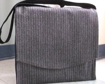 Grey Pinstripe Wool Messenger Bag