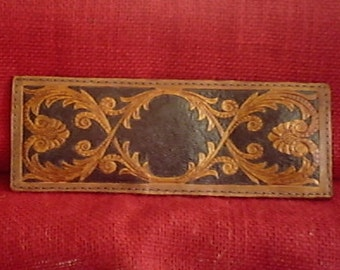 Handmade ART DECO FLORAL Leather Wallet in Antique Brown and Black