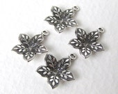 Antiqued Silver Ox Flower Charm Embossed Leaf Petals Dapped Drop 15mm chm0237 (6)