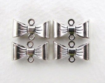 Ribbon Bow Connector Antiqued Silver Ox Vintage Style Finding 15mm cnn0099 (6)