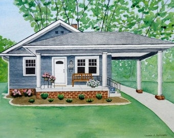 Custom House Painting Watercolor of your home, condo, cabin or cottage ORIGINAL ART in watercolor 11 x 14 including mat