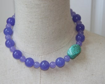 Turquoise  Lavender purple Chunky Beaded Necklace Choker Violet
