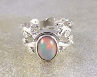 opal engagement ring ring with leaves and opal 14k white gold ring - Opal Wedding Ring Sets