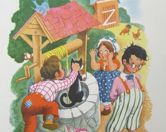 "Charming vintage nursery rhyme print ""Ding Dong Bell"" from Mother Goose Nursery Prints by Penn Prints - nursery art"