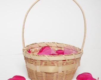Woven Flower Girl Basket - Flowergirl Basket - Easter Basket - Wicker Basket