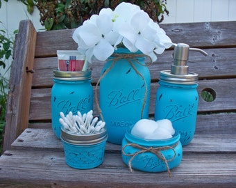 Painted Mason Jar Bathroom Set.  Painted and distressed mason jars