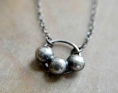 Sterling silver necklace, metalwork, minimalist jewelry, oxidized and rustic - Gravity