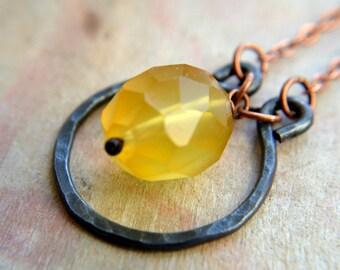 Hammered copper and Chalcedony necklace, honey yellow gemstone, rustic boho jewelry -Vanir