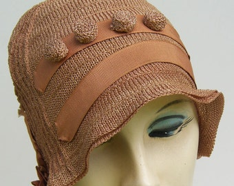 Vintage Taupe Deco Flapper Knit Cloche