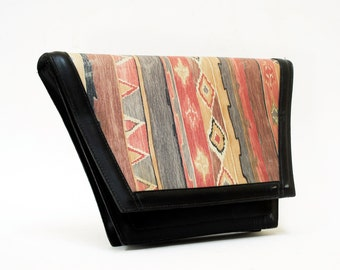 Roberto Vascon Painted Black Leather Trapazoid Purse