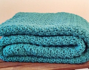 Ready to Ship  Beautiful and Luxuriously Handcrafted CROCHET Blanket Throw JADE