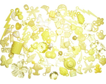 50g Yellow Kitsch Mix of Charms and Beads