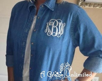 Monogrammed denim shirt long sleeve