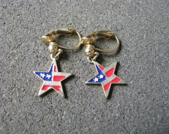 Patriotic red white blue gold tone star clip on earrings by AVON