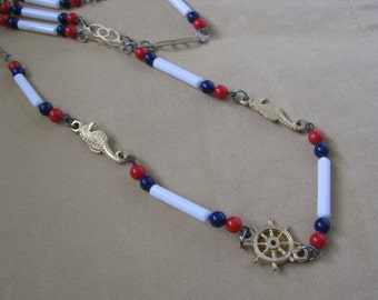 Red white blue vintage necklace with seahorse nautical accents