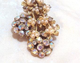 Vintage Faux Pearl, Clear and AB Rhinestone Pin Brooch