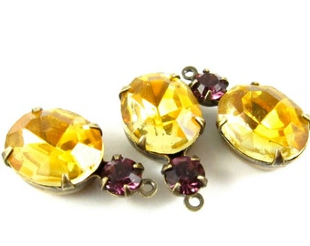 2 - Vintage Glass Stones in 1 Ring 2 Stones Antique Brass Prong Settings - Topaz & Amethyst - 19x10mm