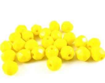 30 - Round Czech Fire Polished Faceted Glass Beads - Opaque Lemon Yellow - 6mm - FPYEL6