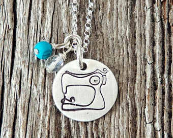 Hand Stamped Sewing Machine Charm Necklace, Sewing Jewelry, Quilting Necklace, Quilter's Jewelry, Quilting Necklace