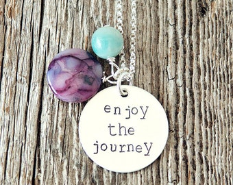 Enjoy the Journey Necklace, Mantra Necklace, Affirmation Necklace, LDS Jewelry, LDS Gifts, Affirmation Jewelry