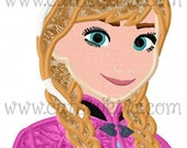 Cold Princess Bust 2 Applique Machine Embroidery Design (DIGITAL ITEM)