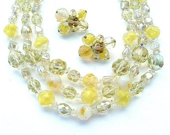 HATTIE CARNEGIE Jewelry Set Crystal Handmade Art Glass Beaded Multi Strand Necklace Earrings Women Gifts Lemon Yellow Looks Like Candy