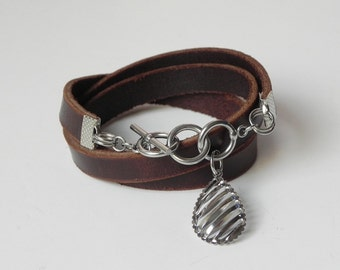 Brown Leather Wrap Bracelet Leather Cuff Bracelet with Stainless Toggle Clasp and Charm