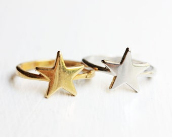 Star Ring, Star Shape Ring, Gold Star Ring, Silver Star Ring, Silver and Gold