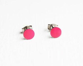 Hot Pink Dot Studs